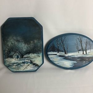 Set of two signed hand painted wood scene plaques